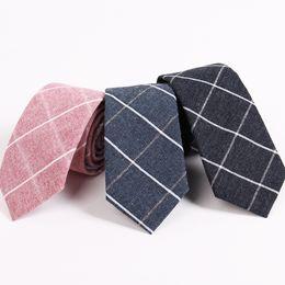 Wholesale Korean Suits Ties - 6.5cm Width 100%Cotton Slim Tie for Men Fashion Plaid Solid Black Navy Necktie Suit Gravatas Corbatas Pink Vestidos Korean Style