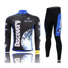 Wholesale Men Cycling Jersey Kuota - DISCOVERY KUOTA team Cycling long Sleeves jersey (bib) pants sets Spring Mountain Bike Team Riding Breathable Quick Dry c1409