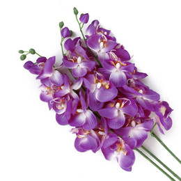Phalaenopsis orchids wholesale on-line-Atacado-Artificial Butterfly Orchid Flower Plant Início Wedding Party Decor Phalaenopsis