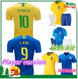 Wholesale Boys Football Jersey Xl - 2018 Player version world cup Brazil Soccer Jersey NEYMAR JR shirt COUTINHO G.JESUS Paulinho WILLIAN kids boy kit adult women woman Football