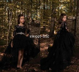 Wholesale Girls Black Top Bow - Black Princess A Line Tulle Girls Pageant Dresses 2018 Half Long Sleeves Lace Top with Crystals Belt Formal Kids Wear Cheap Communion Dress