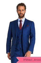 Wholesale Best Winter Wear - Groom Tuxedos Best Man Suit Roral Blue Groomsman Men's Wedding Prom Suits