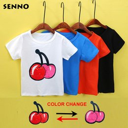 Magic glitter cherry color change flip double sided t shirt with sequins  girls kids sequin top mermaid reversible sequin clothes 25ab63ebda9d