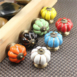 Ручки кухонные кухонные керамические онлайн-5Pcs Vintage Ceramic Door Knobs Cabinet Drawer Wardrobe Cupboard Kitchen Pull Handle Pumpkin Shape of Home Furniture Handles