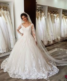 Wholesale Long Sleeve Wedding Dresses Online - Counry Long Sleeves Lace Wedding Dresses V-Neck V-back Sexy Vintage Wedding Gowns China Online Shop Plus Size Custom Made