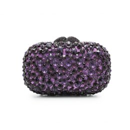 Monederos de diamante morado online-Las mujeres de color púrpura Rhinestones noche de cristal del bolso de embrague del vestido de boda nupcial cadenas de diamantes bolsos de hombro monederos (8646A-S)