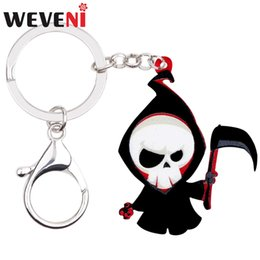 gifts for teens girls Coupons - WEVENI Acrylic Halloween Death Reaper Skull Key Chains Keychains Rings Anime Jewelry For Women Girls Teens Bag Car Charms Gift