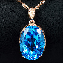 Wholesale Blue Topaz White Gold Necklace - 2018 New Hot Top Plated 18K Gold Topaz Pendants Swiss Blue Topaz Crystal Gem Set Women's Necklaces
