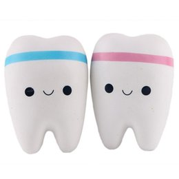 Wholesale cute cell charms - 10.5cm Novelty Jumbo Squishy Tooth Slow Rising Kawaii Soft Squishies Squeeze Cute Cell Phone Strap Toys Kids Baby Gift