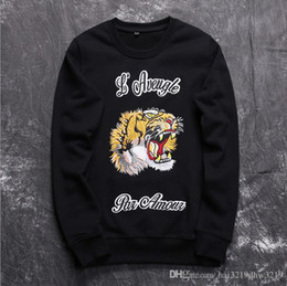 Wholesale tiger cashmere - 2016 cashmere woolen Sweater fashion males luxury brand gentlemen outwear male wool sweaters men's tiger Embroidery crew neck high quality