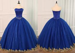 Azul real con apliques de encaje de oro Quinceañera Prom Dresses Cheap Sweetheart corsé de lentejuelas con cuentas de tul Vestidos 15 anos desde fabricantes