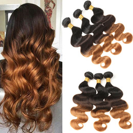 Wholesale indian remy ombre - T1B 4 30 Ombre Body Wave Indian Hair Weave Bundles 3 Tone Black Brown Blonde Human Hair Remy Hair Free Shipping