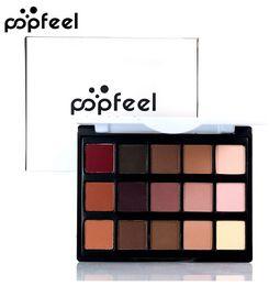 smokey paletten Rabatt POPFEEL 15 Farben Nude Lidschatten-palette Professionelle Marke Augen Make-Up Smokey Lidschatten Kit Schimmer Natürliche Lidschatten-palette