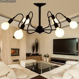 Wholesale Antique Industrial Light Fixtures - Mordern Nordic Retro LED Chandelier Vintage Loft Antique Art Spider Ceiling Lamp Fixture Light Novelty Lustre Lamparas Colgante