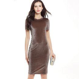cca4498d888941 short velvet design Rabatt 2018 Einfache Design Solid Color Frauen Formale Kleid  Samt Kurzarm Elegante Bodycon