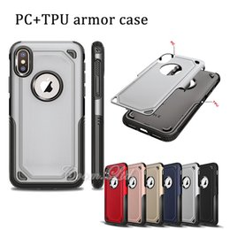 Wholesale Tpu Smartphone Case - 2 in 1 PC + TPU hard case cellphone protector shockproof dropproof back cover smartphone back cover for iphone x samsung s8 plus note 8
