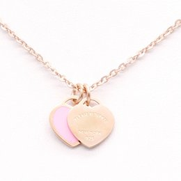 Wholesale stainless steel love necklace - New stainless steel enamel pink double heart necklace T necklace female short18k gold titanium steel necklace pendant for woman