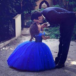 2019 китайские школьницы Принцесса девушки вечерние платья 2018 с плеча Ballgown королевский синий цветок девушки Платье полная длина на заказ