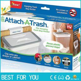 Wholesale Kitchen Trash Bags - New Trash Garbage Bag Rack Attach Holder Over Cabinet cupboard Door Kitchen Bathroom attach a trash