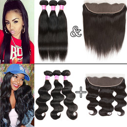 Wholesale Brazilian Body Wave Frontal - 8A Brazilian Virgin Hair Straight Human Hair Bundles with Frontal 100% Unprocessed Body Wave Affordable Virgin Hair Weaves with Lace Closure