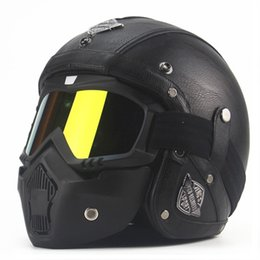 Wholesale Leather Motorcycle Helmet Xl - AHP Leather Vintage Motorbike Motorcycle Helmet Mask Retro Open Face Jet Scooter Motorcycle Helmet Goggles Cap For Harley