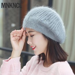 8976c7e0c0c5c MNKNCL Winter Hats For Women Berets With Balaclava Women Hat Gorros Wool  Knitted Hat For Women s Skullies Beanies