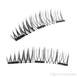 Wholesale Natural Eyelash Glue - New 4Pcs set 3D Three Magnets Magnetic Natural Beauty No Glue Fake Eye Lashes False Eyelashes Magnetic Eye Lashes Extension Handmade