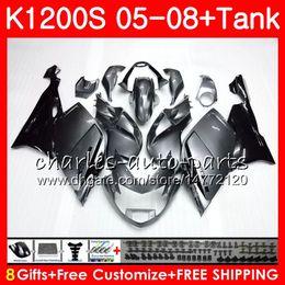 kit de carenagem para bmw Desconto Corpo para BMW K1200 S K 1200 S 05 10 K1200S 05 06 07 08 09 10 103HM1 K-1200S K 1200S 2005 2006 2007 2008 2009 2010 Kit de Carenagem Fábrica prata