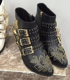 Wholesale Womens Black Studded Heels - New Arrivals 2018 new Arrivals Fashion Womens black real Leather Gold tone Studded Buckle Pointed Toes Side zip Ankle Western Boots
