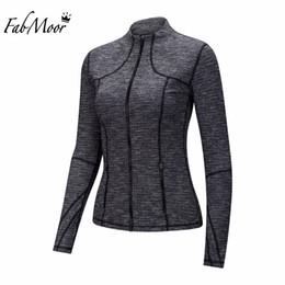 Wholesale Womens Warm Winter Sweaters - Wholesale-Womens Lightweight Jacket Autumn Winter Workout layer Slim fit Running jackets Thumbholes Cuff Keep Warm Full zipper Sweater
