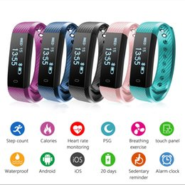 Wholesale Monitor Alarms - ID115 Smart Bluetooth Bracelet Call Prompts Step Counter Fitness Watch Band Alarm Clock Vibration Wristband Sleep Heart Rate Monitor 2.0