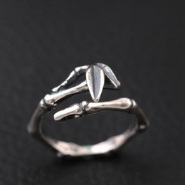 Wholesale Jewelry Making Rings - S925 sterling silver Thai silver antique make old woman adorn article Bamboo opening ring Hot selling rings jewelry wholesale