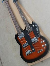 2019 doble bajo Venta al por mayor Cnbald Double Neck Electric Guitar, 4 cuerdas Bass + 6strings guitarra eléctrica en Brown Burst 120906 rebajas doble bajo