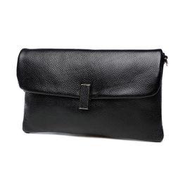 Wholesale Evening Clutch Bag Large - Women Genuine Leather Cover Wristlet Hand Clutch Bag Cross Body Shoulder Evening Bag Lady Large Capacity Cowhide Envelope