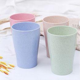 Große tassen online-4 teile / los Multicolor Umweltfreundliche Weizenstroh Wasser Tasse Becher Becher für Kaffee Tee Milch Saft Tasse und Zahnbürste Tasse Für Freunde Großes Geschenk