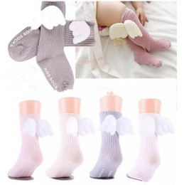Wholesale toddler animal socks - INS 0-4Y Kids Girls Angel Wing Anti Slip Socks Toddler Princess Stretchy Cotton Socks Infant Baby Bebe Knee-length Autumn socks free ship B1