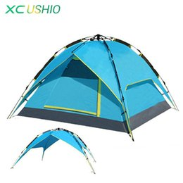Wholesale Blue Hydraulics - Wholesale- 3-4 Person Tent Hydraulic Automatic Opening Double Layer Outdoor Tent Large Size 4 Season Rainproof Fishing Camping Tent
