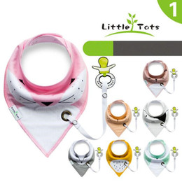 Wholesale Product Layers - Little Tots Toddler Baby Bibs with Pacifier Clip Pure Cotton Double Layer Saliva Towel Triangle Scarf Newborn Products CCA9101 300pcs