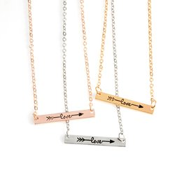 Wholesale Three Linked Hearts Necklace - New Minimalist Bar Pendant Necklace Personlized Simple Carved LOVE Arrow Three colors bar Necklace for girls women Fashion Jewelry Gift