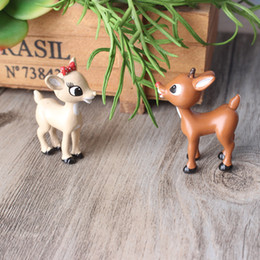 Wholesale Cute Animal Crafts - Cute Deer Lovers Miniature Animal Home Garden Bonsai Decoration Mini Toy Craft Ornaments Micro Decor DIY Gift