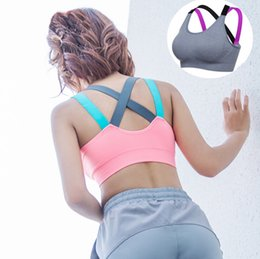 Wholesale convertible sports bra - Free Shipping Women Fitness Bra Shake Proof Yoga Clothing 4 Colors Female Padded Wire Free Bras Sports Gym Tops