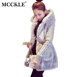 Wholesale Faux Fur Trim Jacket - Wholesale-MCCKLE Fur Coat Women 2017 New Knitting Sleeves Patchwork Faux Fur Coat With Hood Winter Outwear Christmas Fur Jacket Plus Size