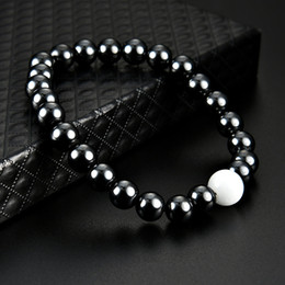 Wholesale charm strings - New Magnetic Hematite Pearl Bracelet Stone Bead String Wristband Bangle Cuff for Women Men Power Healthy Fashion Jewelry drop ship 162548