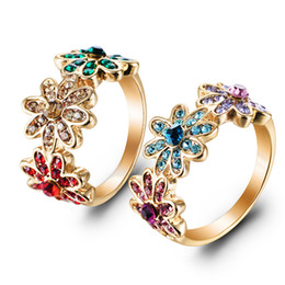 Wholesale Party Explosions - The explosion!Popular European And American Wind And Diamond Flower Alloy Plated Genuine Gold Ladies' Rings A ring of honey