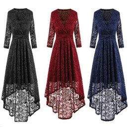 Wholesale Wholesale Black Lace Evening Dresses - 3 Colors Women Lace 3 4 Sleeve V Neck Asymmetric Casual Dress Hollow Out Evening Party Dress CCA8765 10pcs