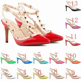 Wholesale womens black studded heels - Sexy Pointed Toe Med High Heels Summer Womens Wedding Fashion Buckle Studded Stiletto High Heel Sandals Shoes