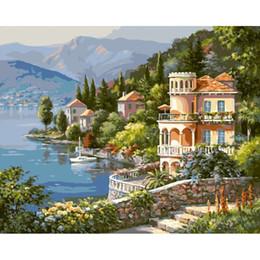Pintura a óleo paisagem castelo on-line-Frameless porto castelo paisagem diy pintura by numbers moderno retrato da arte da parede pintado à mão pintura a óleo para sala de estar presente
