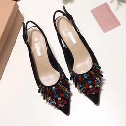 ec1b2214f56 Silk Satin Sandals Kitten heels Banquet shoes Crystal Rhinestone Womens  Pointed toes Single shoes Female Fashion Wedding shoes sandals