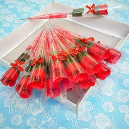 Wholesale Artificial Single Flowers Pink - Single Branch Simulation Rose Valentines Day Gift Rose Soap Flower Wedding Gifts Artificial Roses Teachers Days Hot Sale