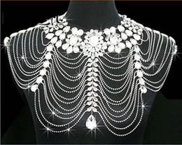 2019 scialle di spalla di cristallo Body Jewerly Diamond Crystal Strass Nappa spalla scialle a catena Wrap Cape Bride Weddingm economici avvolge da sposa scialle di spalla di cristallo economici